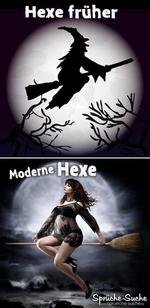 Lustiger Vergleich Hexe früher - Hexe heute