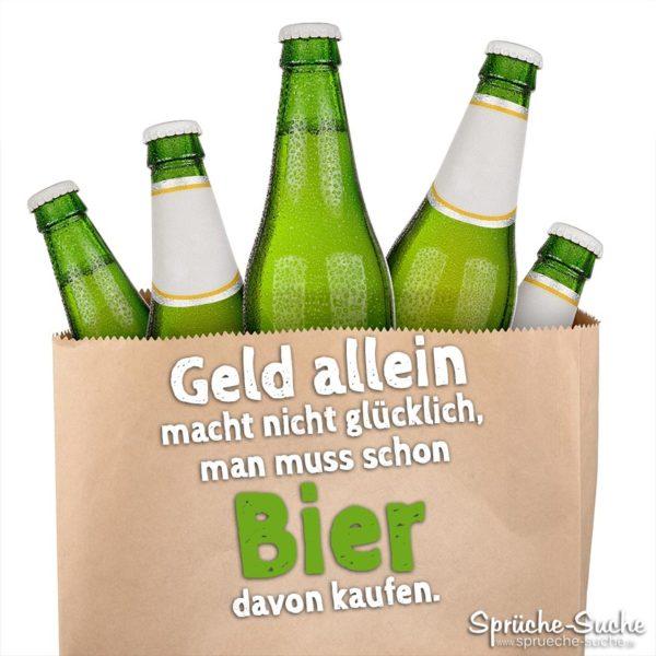 Lustige Bier-Sprüche - Geld allein macht nicht glücklich - Bierflaschen in Papiertüte