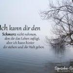 Schöne Freundschaftssprüche - Spruch mit See im Nebel im Herbst