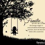Kind schaukelt an Baum - Sprüche Leben - Familie ist wie ein Baum