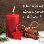 Karte mit Kerze zur Weihnachtszeit - Wir wünschen einen schönen ersten Advent