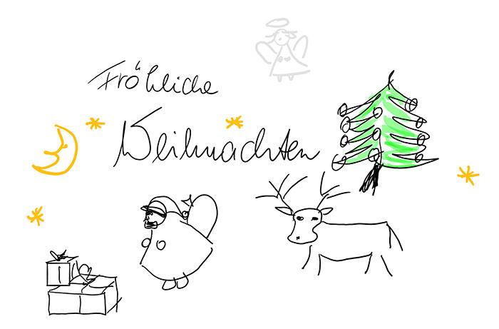 Fröhliche Weihnachten  Zeichnung