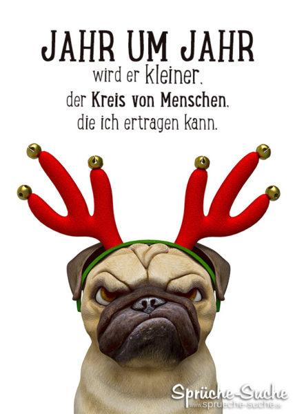 Hund mit Geweih - Witzige Karte mit Spruch zu Weihnachten