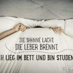 Student im Bett - Lustige Sprüche über Studenten - Die Sonne lacht, die Leber brennt