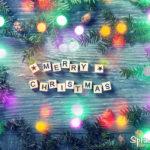 Merry Christmas Karte - Holzwürfel