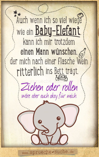 Lustiger Spruch Baby-Elefant