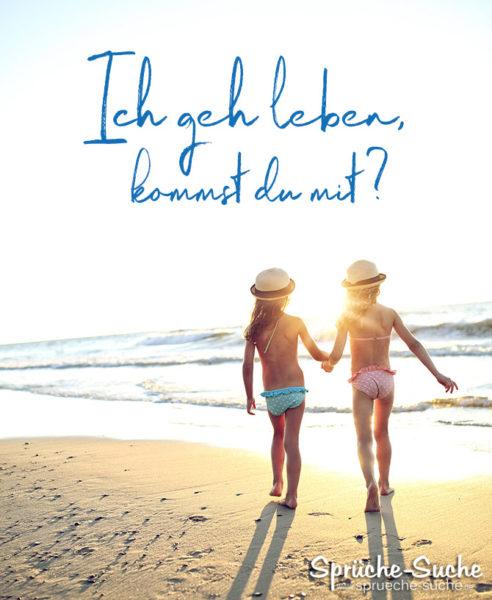2 Kinder am Strand - Sprüche Leben Positiv