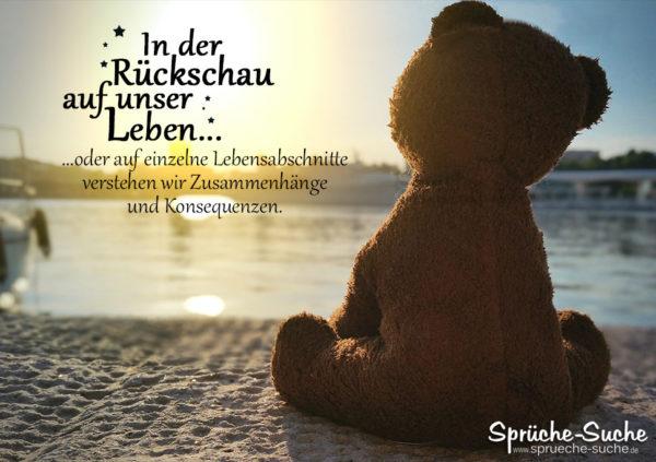 Teddy blickt Richtung Sonnenuntergang - Sprüche zum Nachdenken - In der Rückschau auf unser Leben