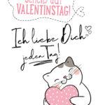 Valentinstag Sprüche mit Katze - Ich liebe Dich jeden Tag!