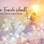 Glück Spruch mit Schmetterling - Wer Freude schenkt