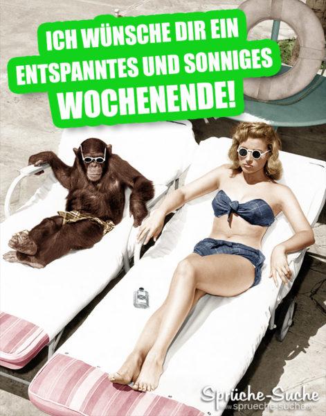 Grüße zum Wochenende mit Frau und Affe