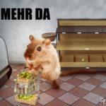 Hamsterkauf - hamster mit vollem Einkaufswagen und leeren Supermarktregalen