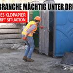 Klopapier-Knappheit lustiger Spruch Klo Baustelle