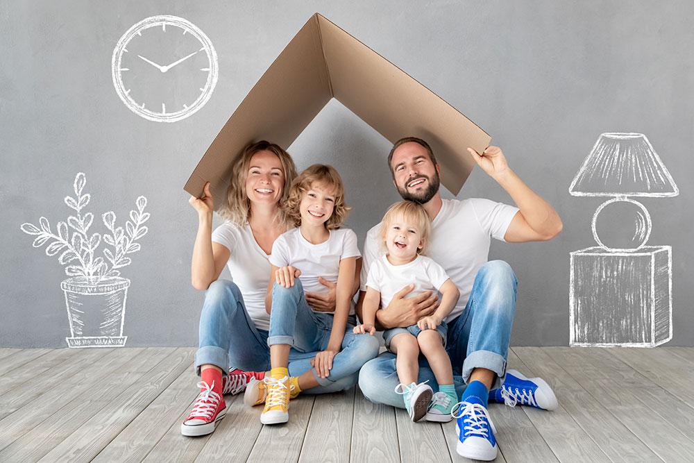Eine Familie mit einem Dach über dem Kopf