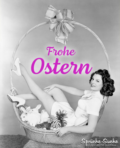 Frohe Ostern mit Frau - Antike Karte