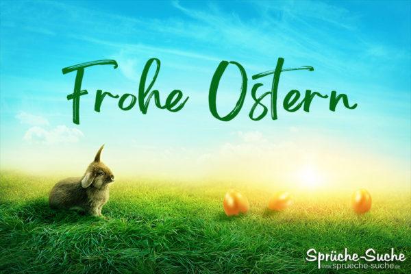 Hase auf Wiese - Grüße mit Osterhasen - Frohe Ostern
