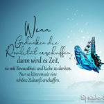 Spruch mit Schmetterling für eine schöne Zukunft - Wenn Gedanken die Realität erschaffen
