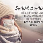 Frau mit Mundschutz - Sprüche zum Nachdenken Corona - Die Welt ist im Wandel