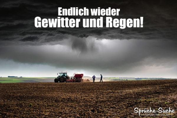 Die Bauern freuen sich über den Regen - Wetter Spruch - Regen und Gewitter
