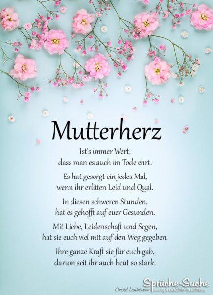 Gedicht zum Muttertag - Mutterherz