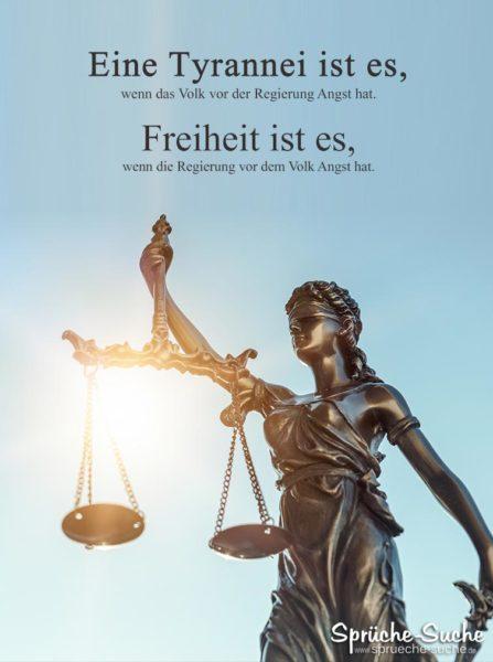 Spruch Freiheit und Tyrannei - Das Volk und die Regierung